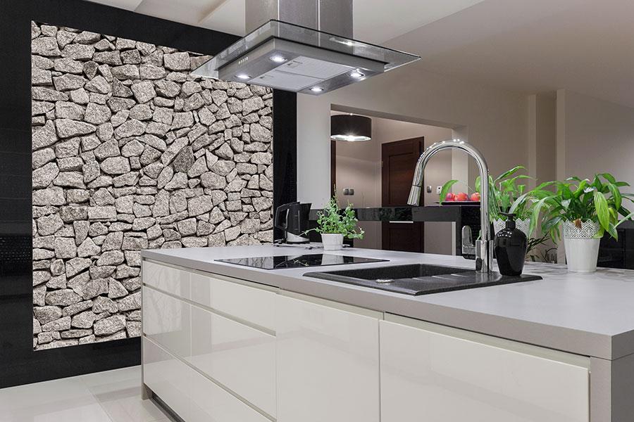 Köksvägg med fototapet av sten