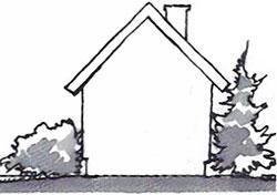 Luta om möjligt gräsmattan från huset, för vattenavrinningens skull.