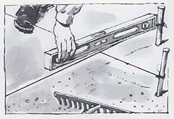 Kontrollera marknivån med lina och vattenpass.