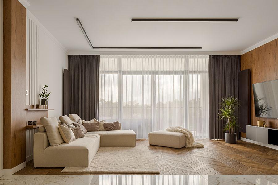 Modernt och stilrent vardagsrum