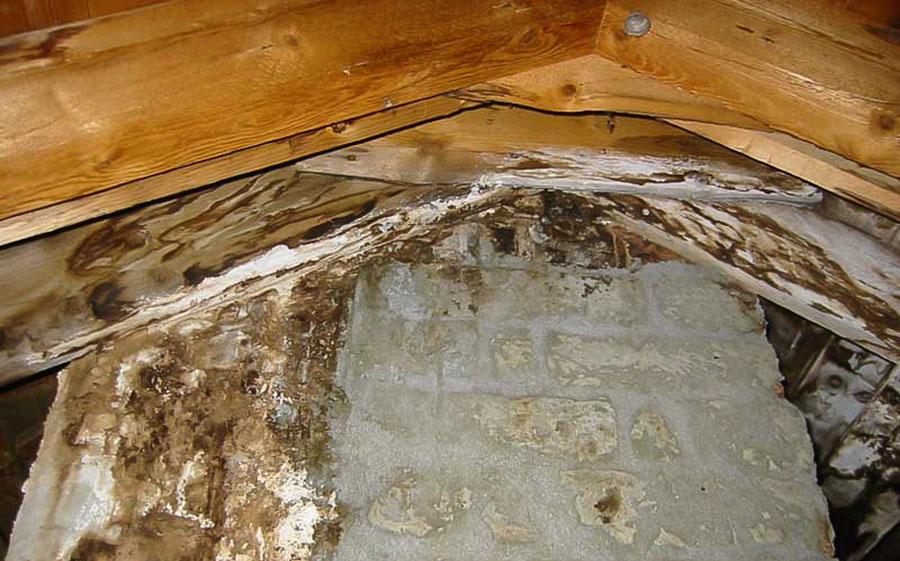 Fuktskada på insidan av taket vid skorsten
