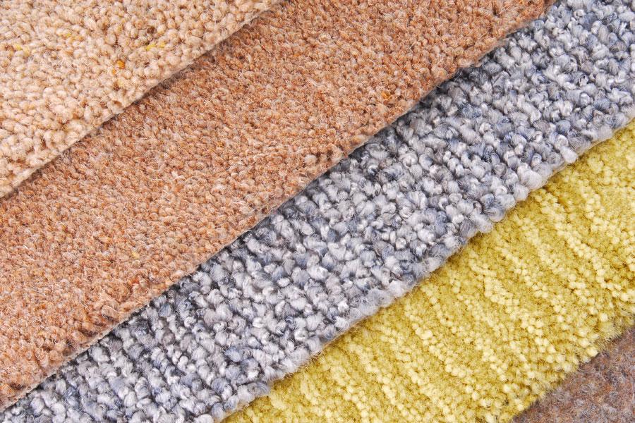 Olika typer och kulörer av textilgolv att välja mellan