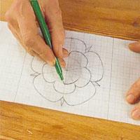 Rita ett mönster på ett rutat papper