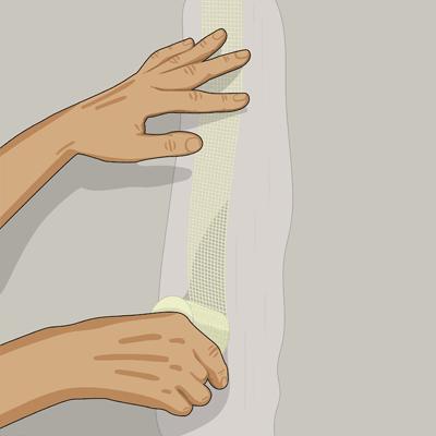 Sätt självhäftande glasfiberremsa eller pappersremsa