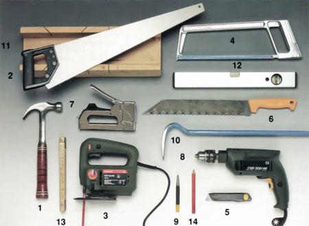 Beskrivande bild för verktyg du behöver för bastubygge