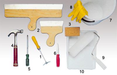 Utrustning och verktyg vid förarbete av tapetsering