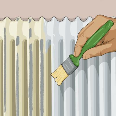 Använd en mindre lackpensel när du målar på utsidan