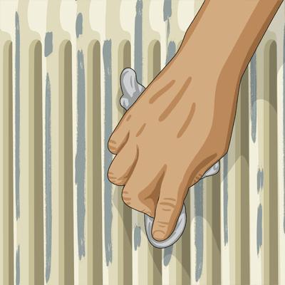 Använd slippapper avsett för metall och slipa hela elementet noga