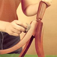 Ben och underrede mattas med stålull