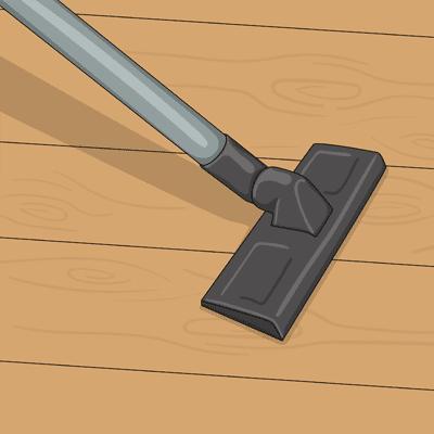 Dammsug golvet noga så att det är helt dammfritt