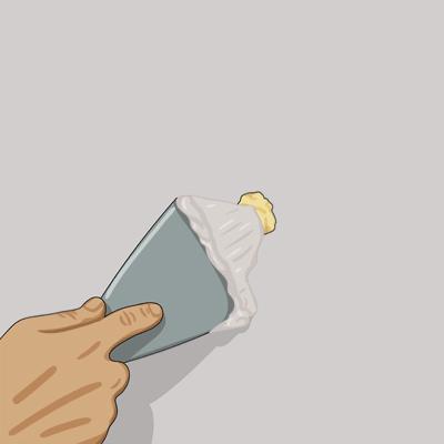 Fyller hålet med gipsbruk i gipsväggen, bredspackla och slipa