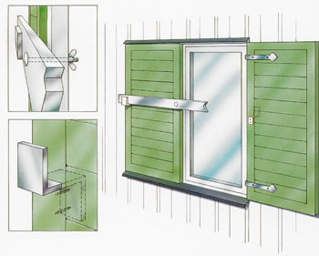 Om fönsterluckorna ska vara svåra för objudna att öppna sätter du gångjärnen på luckornas insidor.