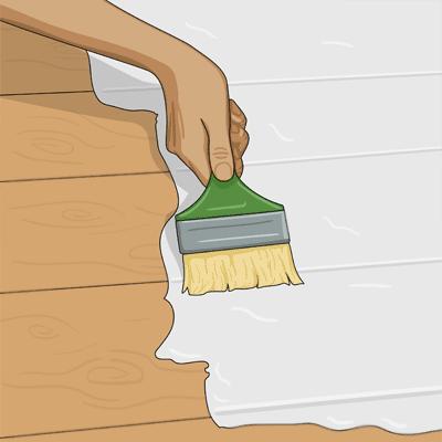 Arbeta med penseln tvärs över träets ådring