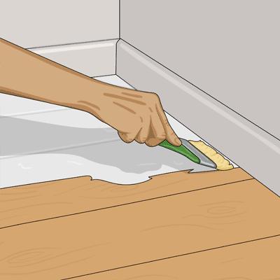 Finns det en glipa mellan golv och list ska färgen komma in under listen