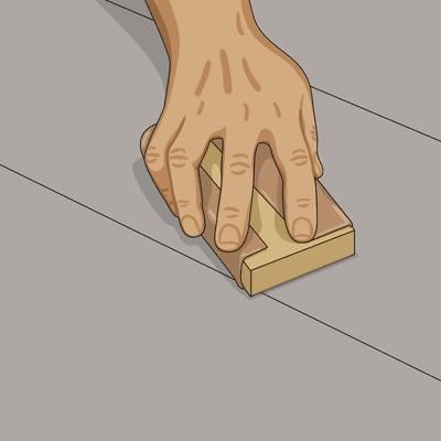 Om golvet målat med blank färg mattar du ytan med slippapper