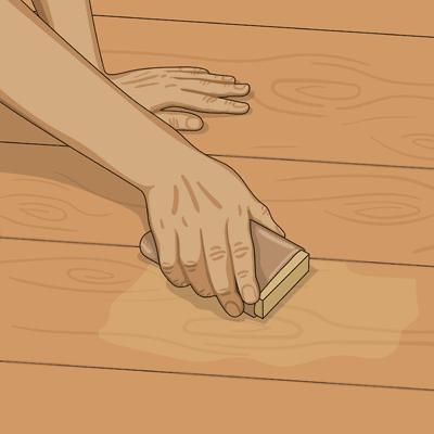 Slipa ojämnheter med slippapper och slipkloss