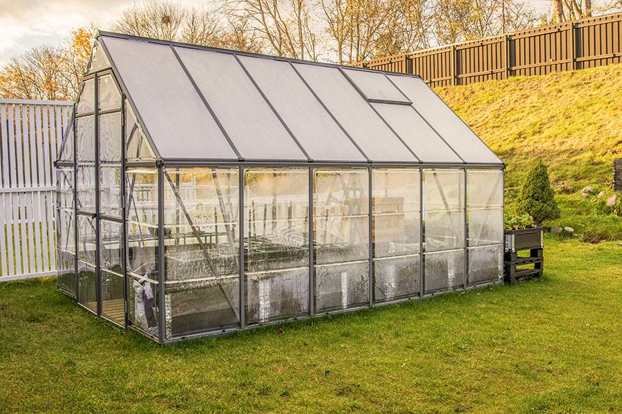 Växthus med aluminium och glas