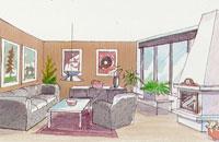 Färgsättning av smalt rum med hög takhöjd