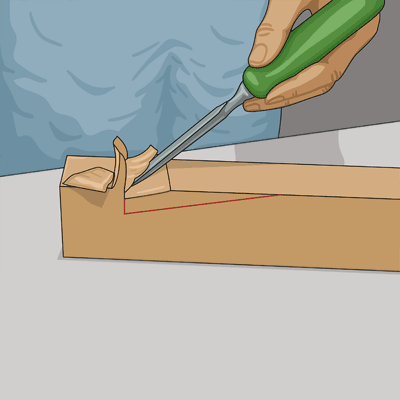 Använd stämjärn och gröp ur träet.
