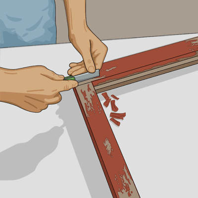 Använd kittkniven för att ta bort gammalt kitt
