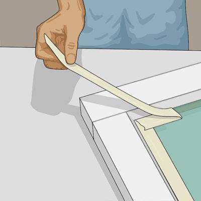 Ta bort maskeringstejpen efter andra strykningen
