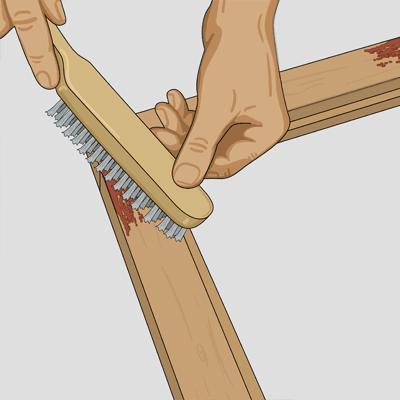Borsta färgen lätt med stålborste