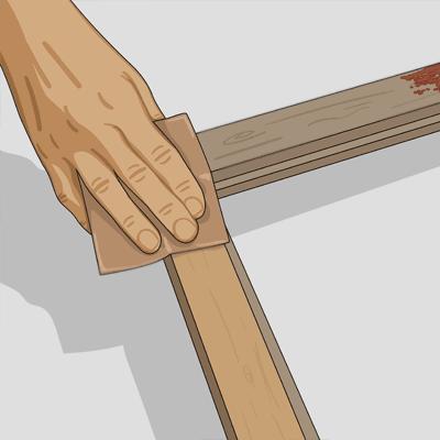 Slipa av fönsterbågen och falsen med slippapper