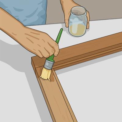 Grundmåla fönsterbågen med förtunnad oljefärg eller kinesisk tungolja