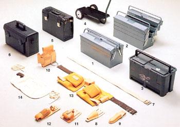 Olika lådor och väskor för verktyg