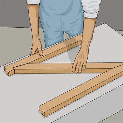 Reglarna och snedsträvan bildar tillsammans ramen till grinden