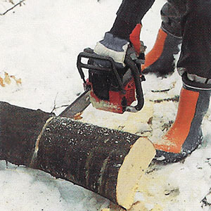 Steg 1. Kapar trädstam med motorsåg.