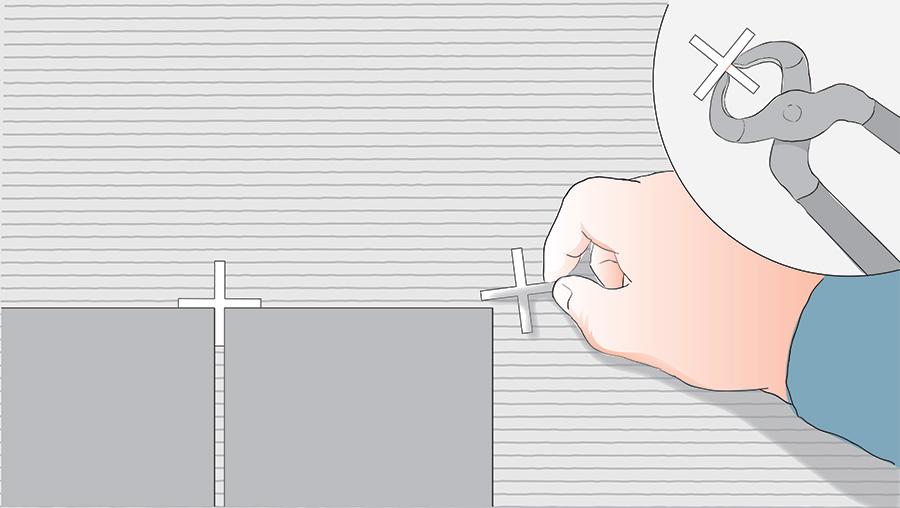 Sätt kakelkryss mellan fogarna och nyp av med tång vid behov