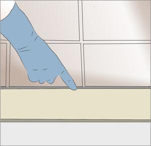 efterslätar silikonfog med tvål vattenlösning