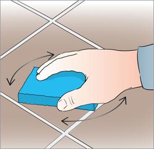 fuktar ytan med vatten innan fogning av klinkergolvet