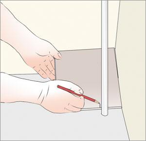 markerar för urtag av rör i klinkerplatta