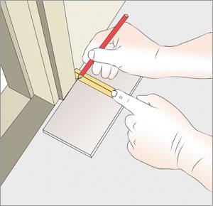 markerar och gör urtag på klinkerplatta med kakelsag
