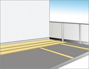 lägger trätrall på balkong- och altangolv