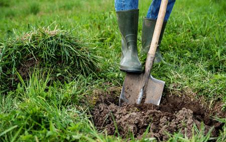 rensar bort växtlighet och jord