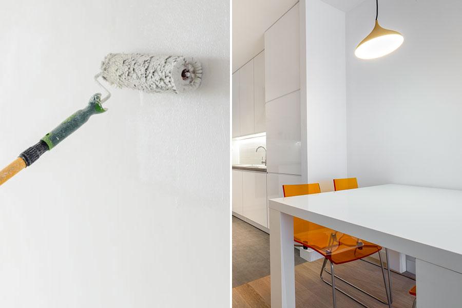 budgetrenoverar och målar köksvägg