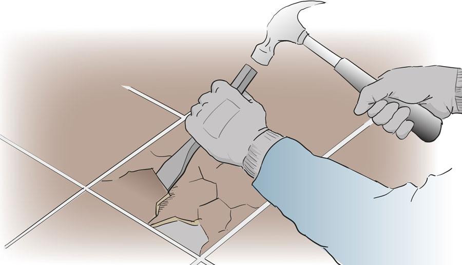 Byt ut en skadad klinker eller kakelplatta. bild 2