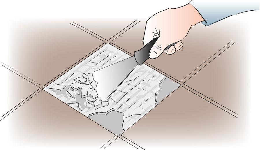 Byt ut en skadad klinker eller kakelplatta. bild 3