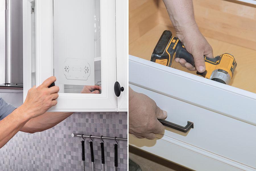 monterar kökshandtag på skåp och köksluckor