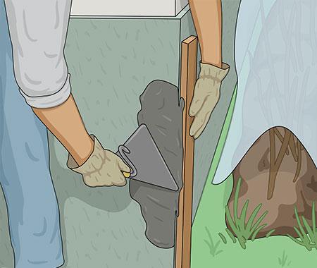 Snygga hörn får du med hjälp av en bräda som du drar av överflödigt bruk mot