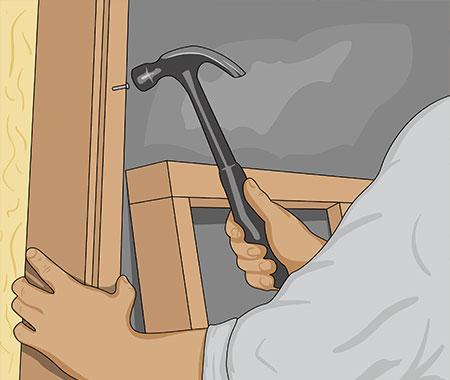 Kapa också två hörnstolpar till varje hörn av basturummet