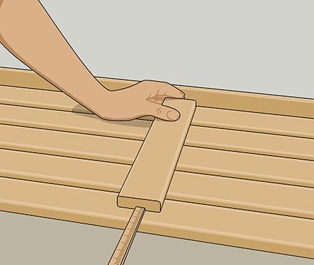 förbind dem med 3 reglar per 2 m, 30 mm kortare än lavens bredd för framkantslist