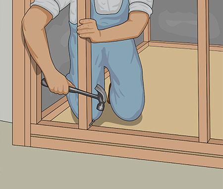 Skråspika sedan resterande, stående reglar uppe och nere