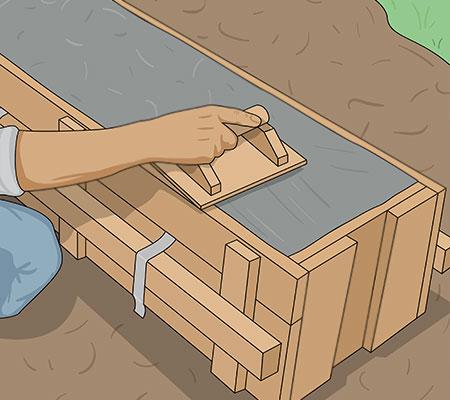 Slätar till betongyta i formen med rivbräda