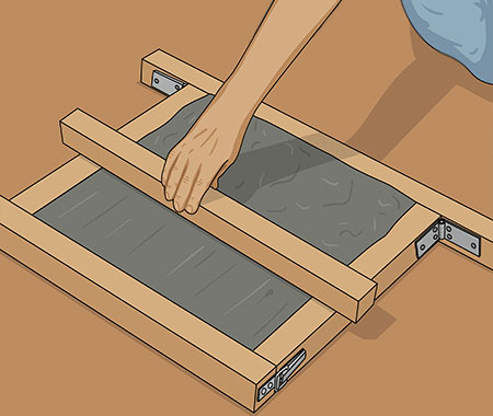 Dra bort överflödig betongmassa med en rak bräda