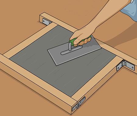 Glätta ytan med stålbrätte