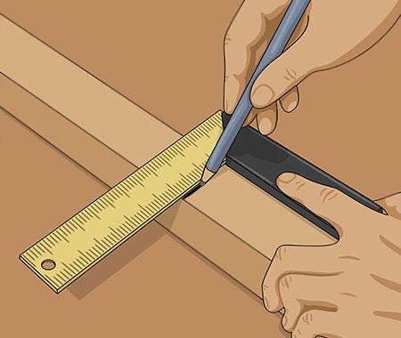 Gör även en lodrätt sågmarkering med hjälp av vinkelhaken.